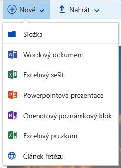 Office 365 Vytvoření nové složky nebo dokumentu