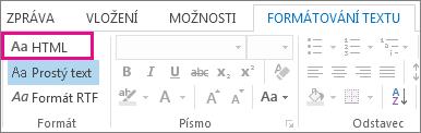 Možnost formátu HTML na kartě Formátování textu ve zprávě