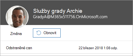 Snímek obrazovky s příkazem k obnovení uživatele ve správě Office 365