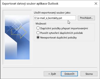 V tomto dialogovém okně zadejte název a umístění souboru .pst.