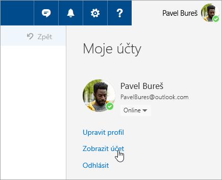Snímek obrazovky s tlačítkem Zobrazit účet