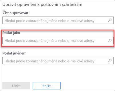 Snímek obrazovky: Povolte jinému uživateli odeslat e-mailu jako tohoto uživatele