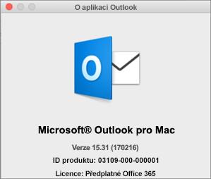 Pokud Outlook používáte prostřednictvím Office 365, bude v okně s informacemi o aplikaci Outlook uvedené předplatné Office 365.