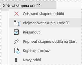 Přejmenování skupin oddílů ve OneNotu pro Windows 10