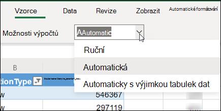 Nabídka Režim výpočtu v Excel pro web