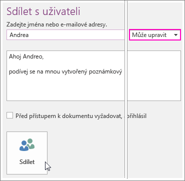 Snímek obrazovky s uživatelským rozhraním pro sdílení ve OneNotu 2016