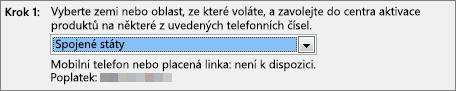 Ukazuje, jak vyberete svoji zemi a zobrazíte telefonní číslo na středisko pro aktivaci produktů