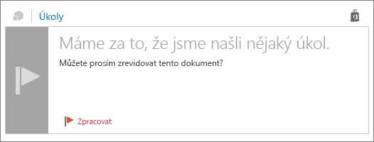 """Snímek obrazovky s kartou akce s názvem """"Jsme, že jsme jste našli položku Akce"""", text v textu zprávy a nastavit příznak pro zpracování."""