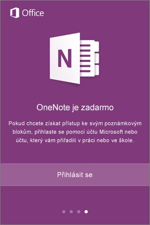 Přihlašovací obrazovka aplikace OneNote