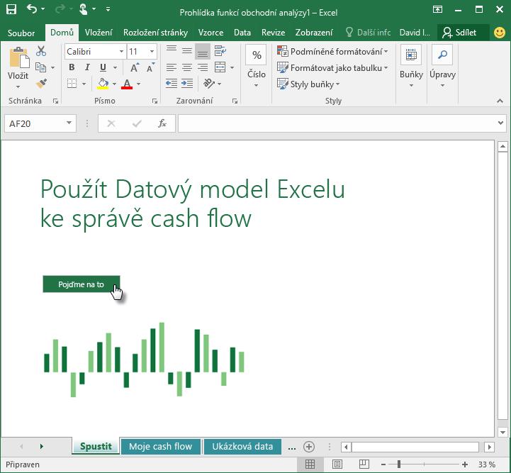 My Cashflow (Moje cashflow) – úvodní obrazovka