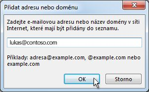 Dialogové okno Přidat adresu nebo doménu