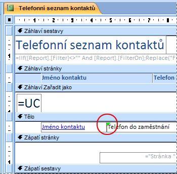 Sestava obsahující textové pole s chybně napsaným identifikátorem