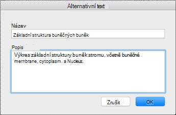 Dialogové okno Alternativní text pro Mac Sierra