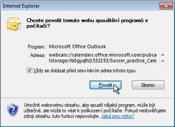 Dialogové okno umožňující povolit webu spuštění programu