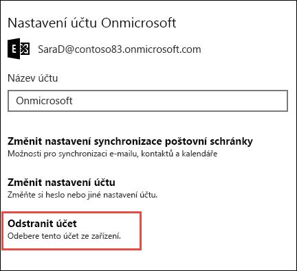 Odstranění účtů v aplikaci pošta