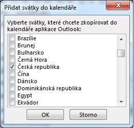 Dialogové okno pro výběr svátku určitého státu nebo oblasti