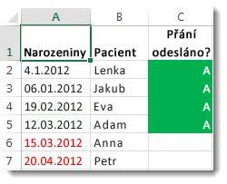 Ukázka podmíněného formátování v Excelu
