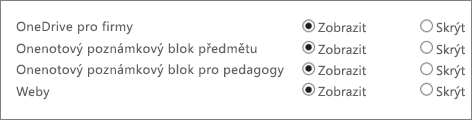 Seznam s OneDrivem pro firmy, Onenotovým poznámkovým blokem předmětu, Onenotovým poznámkovým blokem pro pedagogy a Weby s tlačítky pro zobrazení nebo skrytí.