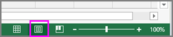 Tlačítko Rozložení stránky na stavovém řádku