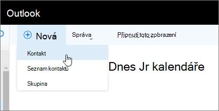 Snímek obrazovky nového příkazu s vybraným kontaktem