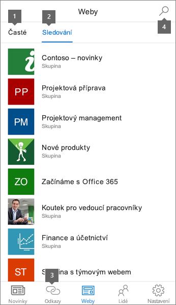 Karta webů SharePoint mobilní aplikace pro iOS