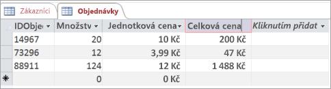 Pojmenování polí v tabulce aplikace Access