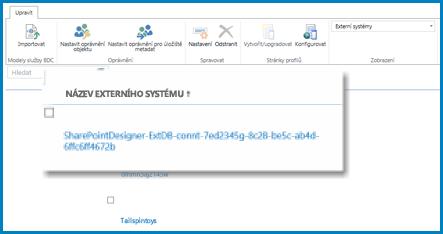 Snímek obrazovky s pásem karet při použití zobrazení Externí systémy v sharepointové službě BCS