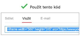 """Aby správně fungoval kód, který vám umožňuje vložit video, musí začínat buď textem """"iFrame"""", nebo textem """"<object""""."""