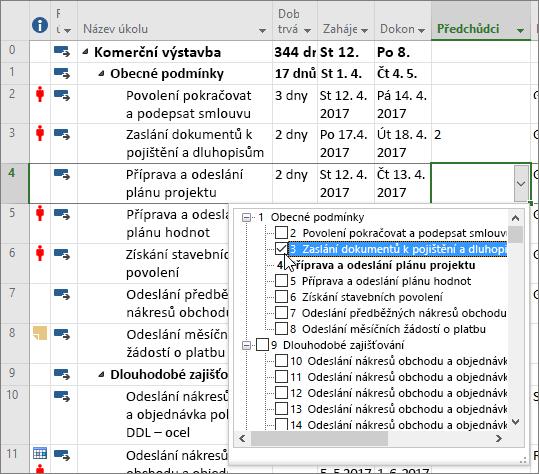 Snímek obrazovky z Projectu s rozevírací nabídkou ve sloupci Předchůdce