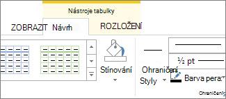 Umístění nástrojů tabulky