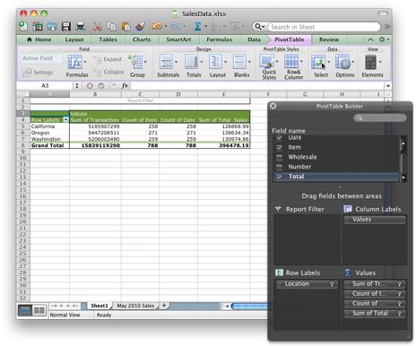Excelový sešit s novým rozhraním kontingenční tabulky