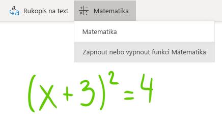 Možnost tlačítka Matematika ve OneNotu pro Windows 10