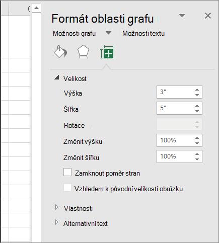 Můžete přizpůsobit velikost grafu v dialogovém okně Formát oblasti grafu