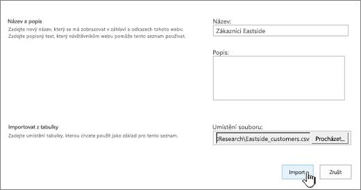 Dialog pro novou aplikaci s vyplněným názvem a umístěním souboru a zvýrazněným tlačítkem Importovat
