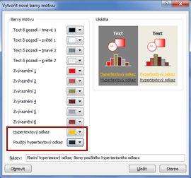 Změna barvy textu hypertextového odkazu