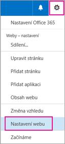 Vpravém horním rohu zvolte tlačítko Nastavení a potom zvolte Nastavení webu.