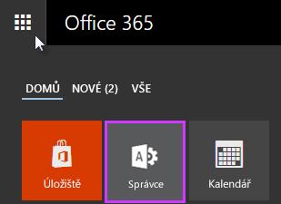 Zobrazuje spouštěč aplikací Office 365 se zvýrazněním správce.