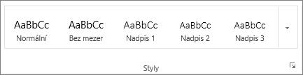 Snímek obrazovky skupiny Styly na kartě Domů se zobrazenými styly Nadpis 1, Nadpis 2 a Nadpis 3