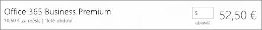 Obrázek se stránkou potvrzení nákupu, kde můžete potvrdit počet uživatelů, které chcete použít pro nové předplatné