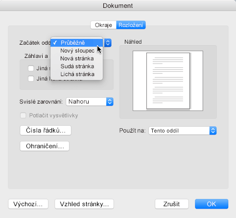 Pokud chcete konec oddílu změnit na nepřetržitý, přejděte do nabídky Formát, klikněte na Dokument a nastavte začátek oddílu na Nepřetržitě.