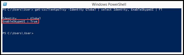 Prostředí PowerShell: SkypeUIEnabled