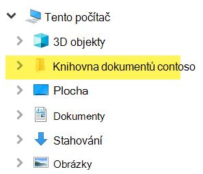 V Průzkumníkovi souborů se mapovaná knihovna zobrazí jako položka složky v části Tento počítač.