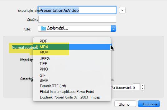 Předplatitelé Office 365 můžete exportovat do prezentace video jako soubor MOV nebo MP4