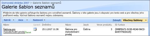 Galerie seznamů pomocí šablony seznamů