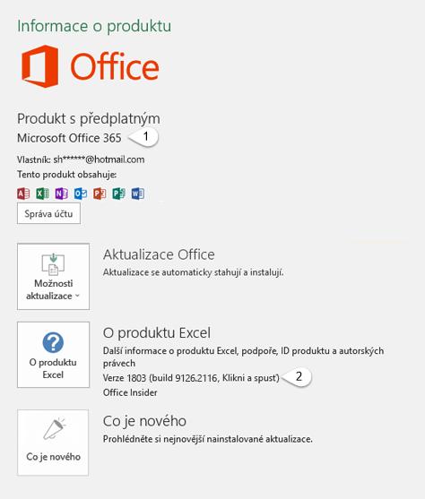 Stránka s účtem, která obsahuje informace o uživateli a produktu