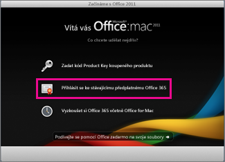 Domovská stránka instalace Office pro Mac, kde se přihlašujete ke stávajícímu předplatnému Office 365.