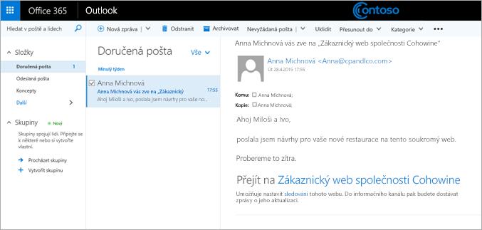 Ukázkový e-mail, který zve zákazníky na podřízený web zákazníka