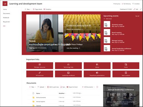 Snímek obrazovky s náhledem šablony vedoucího a vývojového týmu