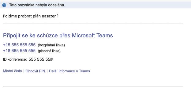 Odkaz Připojit se ke schůzce přes Microsoft Teams v textu události