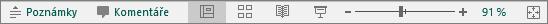 Zobrazuje tlačítka Zobrazení dole na obrazovce PowerPointu.